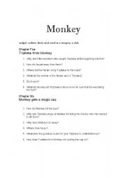 English Worksheets: Monkey: Journey to the West Chapters 5 and 6