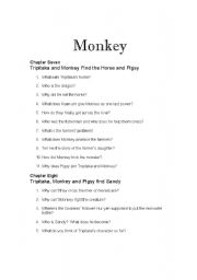 English Worksheets: Monkey: Journey to the West Chapters 7 and 8