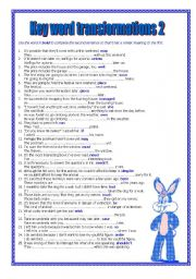 English Worksheets: KEY WORD TRANSFORMATIONS 2
