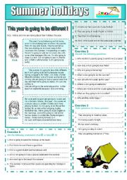 English Worksheet: Summer holidays : READING AND GRAMMAR Series N� 8