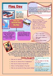 English Worksheet: Flag Day in the USA