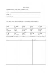 English Worksheets: Verbs, adjectives and nouns