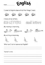 English Worksheet: self evaluation/assesment page