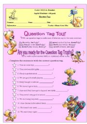 English Worksheets: Question Tag Trophy