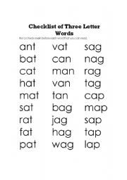 English worksheets: Check list of three letter words
