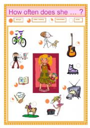 English Worksheets: how often does she ?