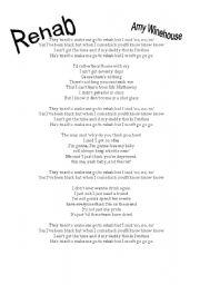 English Worksheet: Rehab by Amy Winehouse