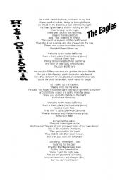 English Worksheet: Hotel California by The Eagles