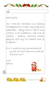 english worksheets a letter to santa