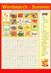 English Worksheet: WORDSEARCH - SUMMER (4 - 8)