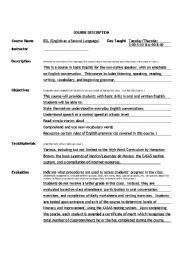 English Worksheets: ESL Course Description