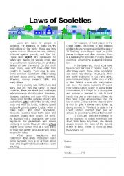 English Worksheets: Laws of Societies Reading Comprehension