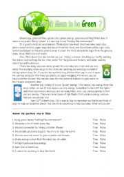 English Worksheet: Being Green, Helping the Earth