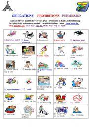 English Worksheet: MODALS : OBLIGATION - PROHIBITION- PERMISSION