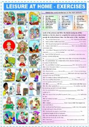 English Worksheet: LEISURE AT HOME - EXERCISES