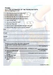 English worksheet: video activity about friendship