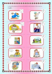 English worksheet: Look the pictures and clock and write