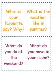 English Worksheets: question cards part 2