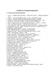 Exercises gt adjectives exercises gt 3 exercises degrees of comparison