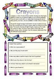 English Worksheets: Crayons - reading comprehension