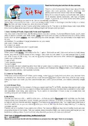 English worksheet: BE A FIT KID