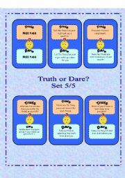 English Worksheet: Truth or Dare? - Set 5/5