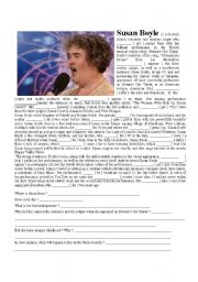 English Worksheets: SUSAN BOYLE �S BIOGRAPHY