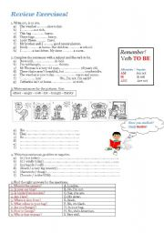English Worksheets: Review Exercises! To be , feelings and personal information questions!