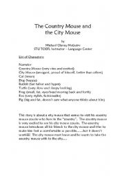 English Worksheets: The Country Mouse and the City Cat