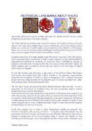 English Worksheet: HISTORICAL LANDMARKS ABOUT WALES  (reading skill)