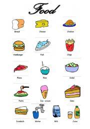 Food Vocabulary - ESL worksheet by FilipaCorreia