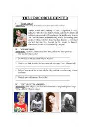 English Worksheets: THE CROCODILE HUNTER