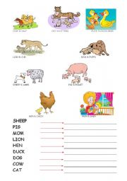 English Worksheet: mom animals and baby animals