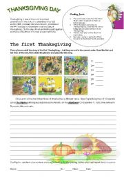 English Worksheets: the 1st Thanksgig Day