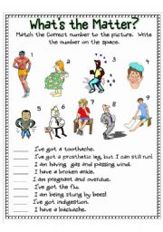 English Worksheet: What´s the Matter Worksheet Set