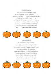 photo regarding Five Little Pumpkins Printable referred to as English worksheets: Halloween poem - \