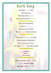 English Worksheet: Earth Day song