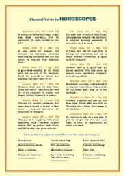 English Worksheet: Phrasal Verbs in Horoscopes
