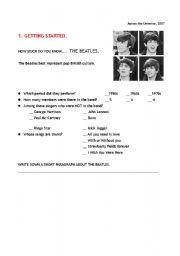 English worksheet: MOVIE: Across the Universe -2007 PART 1