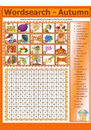 English Worksheets: WORDSEARCH - AUTUMN (6 - 8)