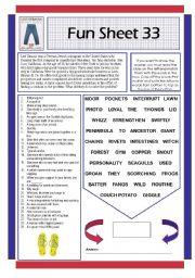English Worksheets: Fun Sheet 33