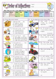 English Worksheets: Order of Adjectives