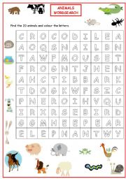 English Worksheet: Animal wordsearch