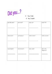 English Worksheets: Did you...?