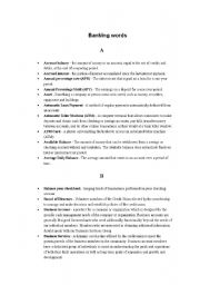 English Worksheets: Banking words