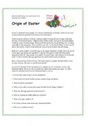 English worksheet: Origin of Easter