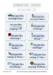 English Worksheet: SPEAKING CARDS _ Do you like...? part 1