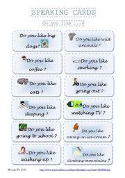 English Worksheet: SPEAKING CARDS - DO you like...? part 2