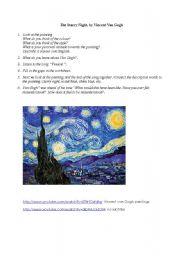 vincent van gogh printable worksheets pdf