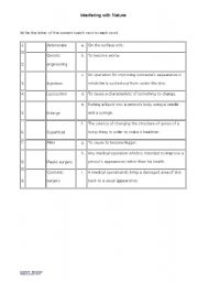 English worksheet: Interfering with nature